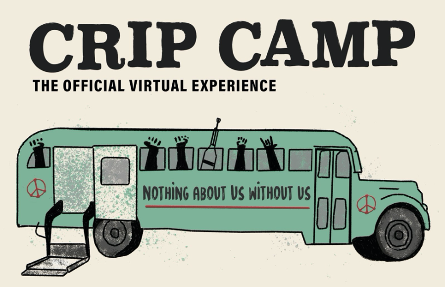 "Logo for Crip Camp: The Official Virtual Experience, an illustration of a green bus with wheelchair lift, raised fists extending from the windows, and the phrase ""Nothing About Us Without Us"" painted on the side."